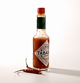 A bottle of red tabasco sauce