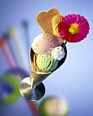 Strawberry, pistachio & chocolate ice cream, cream & wafers