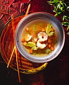 Chinese soup with vegetables, glass noodles & shrimps