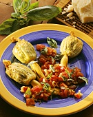 Stuffed courgette flowers with tomato & basil salad