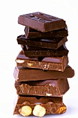 Tower of pieces of chocolate