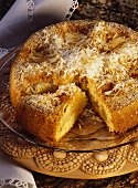 Old German apple cake with grated coconut