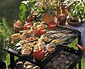 Grilltableau mit Fleisch, Geflügel, Gemüse auf Grill (aussen)