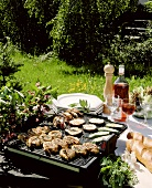 Grilled lamb kebabs and vegetables on barbecue