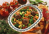 Meatballs on mixed vegetables