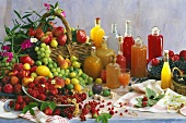Freshly squeezed juices, fresh fruit on table