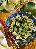 Chinese stir-fry - fried vegetables with tofu & sesame