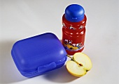 Child's drinking bottle & plastic sandwich box for school lunch