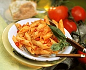 Penne all' arrabbiata (pasta with chili sauce, Italy)