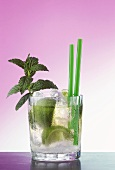 Mojito - Cuban cocktail with rum and mint in whisky glass
