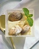 Zabaione con amaretti (whipped wine cream), Piedmont, Italy