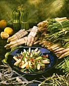 Asparagus salad with various types of asparagus & tomatoes