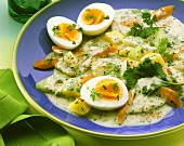 Mixed vegetables with light herb sauce and eggs
