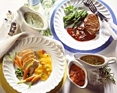 Chicken breast with spicy mango puree; beef steak with beans