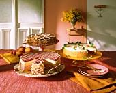 Strawberry cream cake, tiramisu cake & cream cake with berries