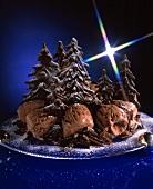 Chocolate Ice Cream with Chocolate Christmas Trees