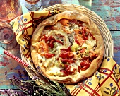 Pepper quiche with tomatoes and Roquefort cheese