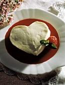Vanilla Cream Heart in a a Raspberry Sauce