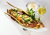 Millet salad, duck breast, apricots, vegetables & yoghurt sauce