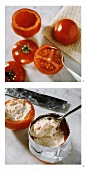 Making tomato stuffed with salmon mousse