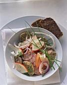 Bavarian sausage salad with fleisch-, weisswurst, apples