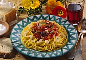 Spaghetti with chicken liver, tomato sauce & Parmesan shavings