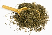 Dried patchouli leaves with scoop (Pogostemon cablin)