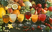 Six different fruit juices and fresh fruit