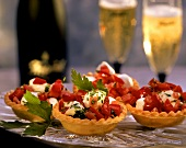 Tomato and mozzarella salad with basil in pastry case