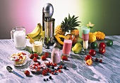 Several milkshakes and fruit yoghurts on marble table