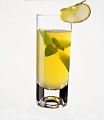 Apple drink in glass with mint leaves