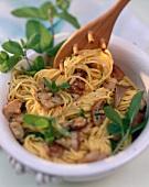 Spaghetti alla toscana (Spaghetti mit Pilzen & Minze)