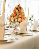 Beautiful Rose Flower Arrangement at a Table Setting