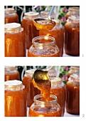 Ladling apricot jam into jars