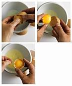 Eier aufschlagen, Eigelb & Eiweiss trennen