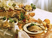 Festive menu with salad, bouillon, salmon & apple pie