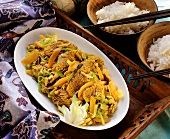 Finely chopped turkey curry with leeks and carrots