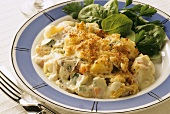 Haddock and vegetable gratin
