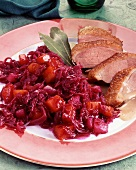 Tender duck breast with apple and red cabbage