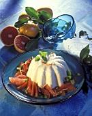 Creamy semolina flummery with grapefruit segments