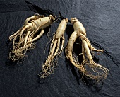 Three ginseng roots on a slate slab