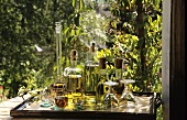 Home-made herb liqueurs on a table in the garden