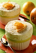 Fresh orange ice cream souffle with orange zest