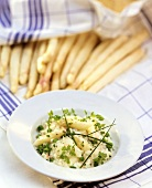 Asparagus risotto with peas & chervil; white asparagus spears