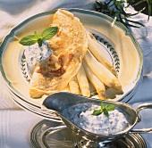 White asparagus with ham pancakes & herb yoghurt