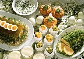 Egg-based Easter buffet: egg punch, eggs in aspic, egg roll