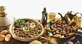 Lamb tajine with almonds & lambs' liver with mint