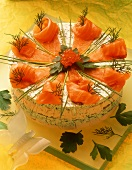 Salmon cream cheesecake with fresh herbs