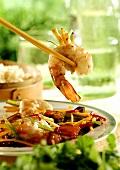 Chopsticks Holding a Shrimp