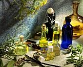 Stillleben mit verschiedene Aroma-Ölen & Gewürzen